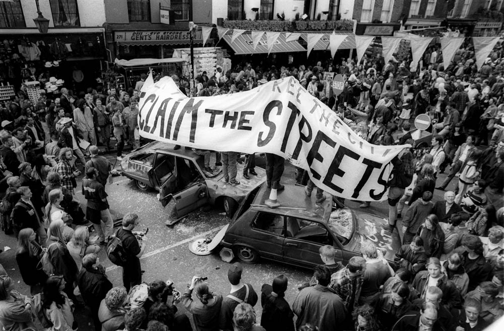Reclaim The Streets, Camden High St, May 1995.