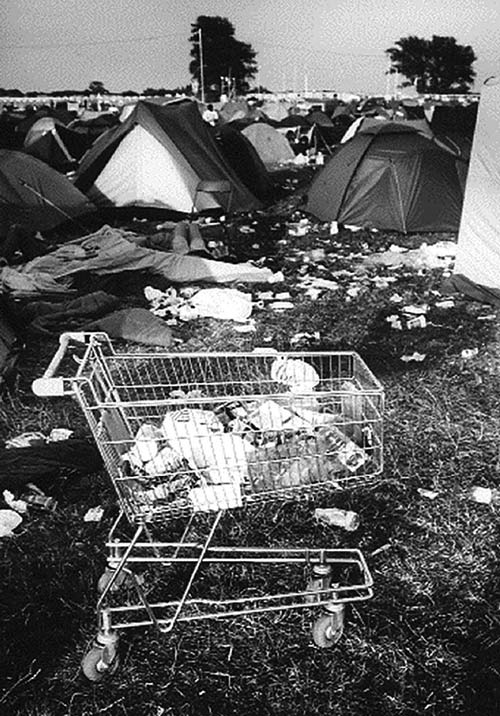 Shopping trolley at the Phoenix Festival 1996. Photo: Chris Smith.
