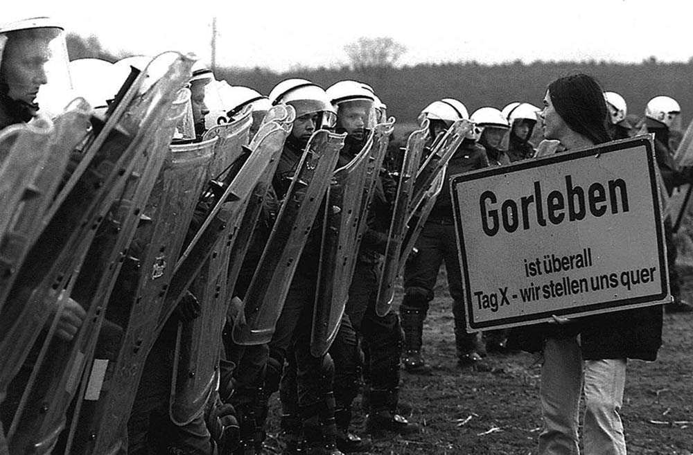 Protests against nuclear waste trains at Gorleben, Germany.