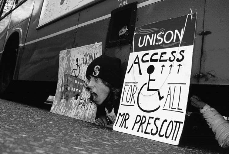 Disabled activists protest transport 'apartheid'.