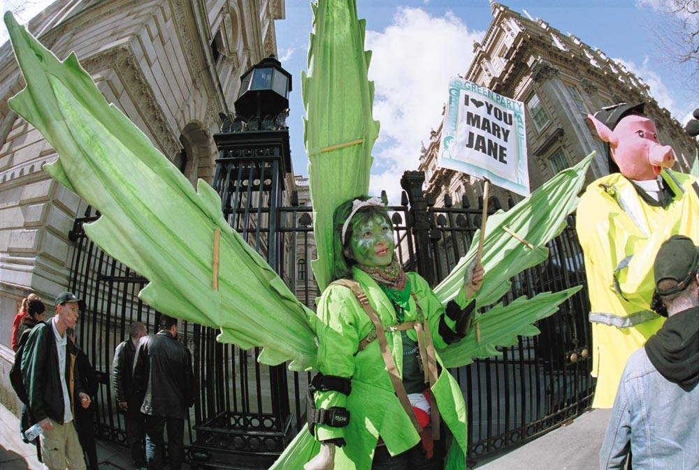 Cannabis Legalisation demo, March 31st 2001, Whitehall, London
